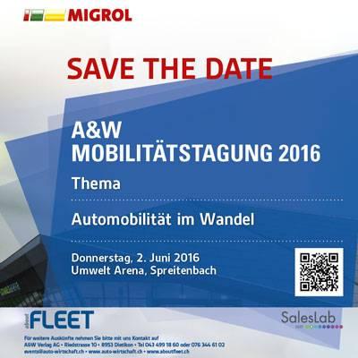A&W Mobilitätstagung am 2. Juni 2016: noch sind einige Plätze frei